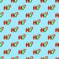 HoHoHo Pixel Art padrão sem emenda vetor