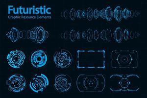 Pacote de elementos futuristas abstratos