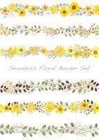 Conjunto de borda floral amarela vetor