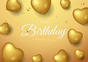 Feliz aniversário comemoração tipografia com balões de coração de ouro