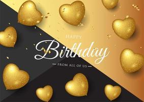 Preto e ouro aniversário elegante cartão com balões de ouro e confetes caindo