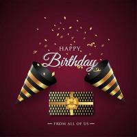 Feliz aniversário comemoração tipografia para cartão postal, cartaz ou banner vetor