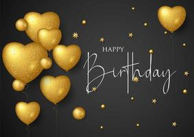 Feliz aniversário cartão elegante com balões de ouro e confetes caindo