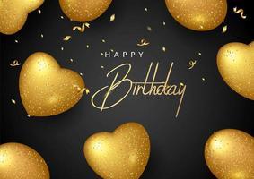 Aniversário elegante cartão com balões de ouro e confetes caindo