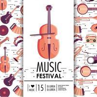 evento de violino e instrumentos para festival de música vetor