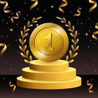 prêmio de moeda com ramos de folhas vetor