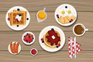 deliciosos waffles com panquecas e ovos fritos