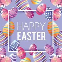 Feliz Páscoa com fundo de decoração de ovos de Páscoa vetor