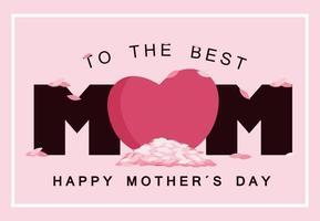 para o melhor cartão de dia das mães feliz mãe com coração vetor