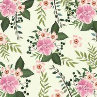 plantas de flores e rosas com fundo de ramos vetor
