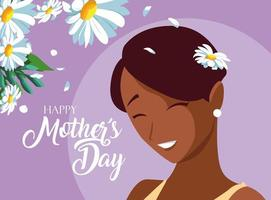 cartão de dia das mães feliz com mãe fofa e flores vetor