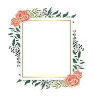 cartão com rosas e ramos plantas folhas