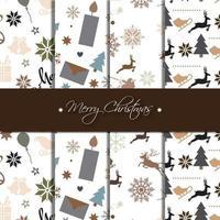 Coleção de padrão de Natal escuro vetor