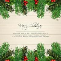 design de cartão de feliz Natal com folhas de pinheiro na madeira vetor