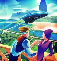 Grupo de pessoas saindo em um terraço no futuro