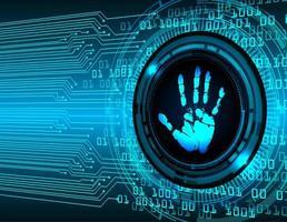 Impressão da mão no fundo digital
