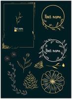 quadros desenhados à mão floral e elementos de rolagem vetor