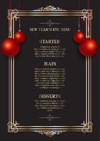 Design elegante do menu de véspera de ano novo vetor