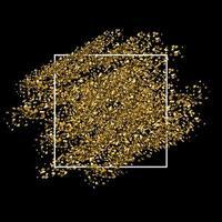 Fundo de glitter dourados com moldura branca vetor