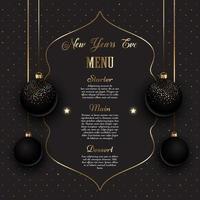 Design de menu de véspera de ano novo em ouro e preto vetor