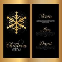 Design de menu de Natal com design de floco de neve brilhante vetor