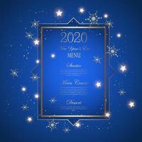 Projeto decorativo do menu de véspera de ano novo vetor