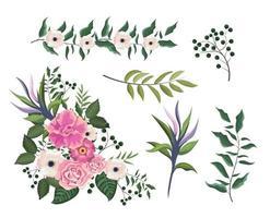 conjunto de rosas e flores plantas com folhas de galhos