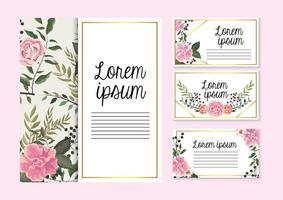 conjunto de cartões com plantas de rosas com folhas de galhos