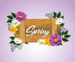 emblema de madeira primavera com flores de beleza vetor