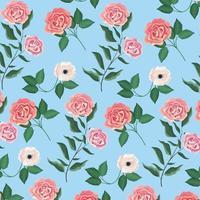 fundo de plantas exóticas de flores e rosas vetor