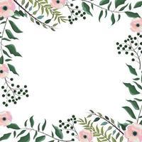 cartão com flores, plantas e ramos de folhas