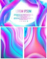 Cartões abstratos com design fluido colorido dinâmico
