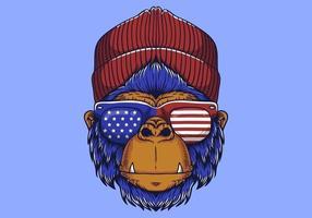 Tema americano de cabeça de gorila vetor