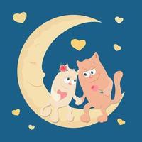 Gatos dos desenhos animados em casal apaixonado na lua no dia dos namorados