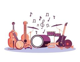 instrumentos profissionais para celebração do festival de música vetor
