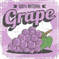 Sinalização retro vintage de uva vetor