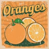 Sinalização retro vintage de laranjas laranja vetor