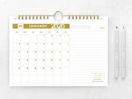 Modelo de calendário ouro e branco 2020 vetor