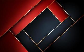 Fundo geométrico de camada abstrata de vermelho e preto vetor