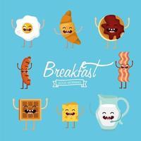 Conjunto de alimentos de café da manhã dos desenhos animados vetor