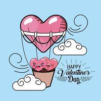 Casal feliz corações dentro de balões de ar