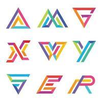 Conjunto de carta de tipografia colorida vetor