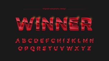 Tipografia de esportes metálico cromado vermelho vetor
