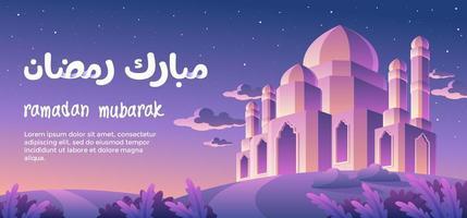 Ramadan Mubarak com pôr do sol ao entardecer vetor
