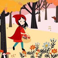 Menina de capuz vermelho na floresta vetor