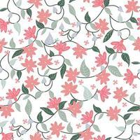 Rosa e verde flor floral botânica sem costura padrão vetor