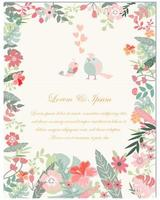 Cartão de casamento flores e pássaros da primavera vetor