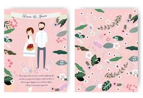 Cartão de casamento doce casal bonito dos desenhos animados vetor
