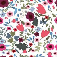 Primavera rosa roxo selva flor sem costura padrão