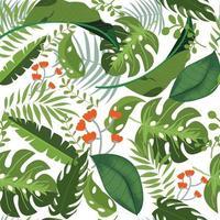 Folhas verdes sem costura padrão vetor